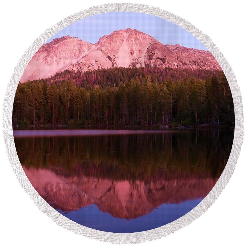 Manzanita Lake Round Beach Towel featuring the photograph Purple Reflections by Adam Jewell
