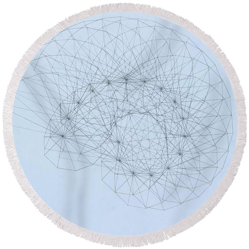 Jason Padgett Round Beach Towel featuring the drawing Quantum Nautilus by Jason Padgett