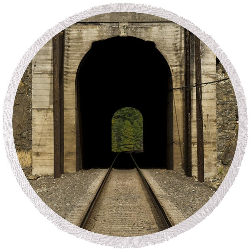 Hill Round Beach Towel featuring the photograph Railroad Tunnel 3 Bnsf 1 B by John Brueske