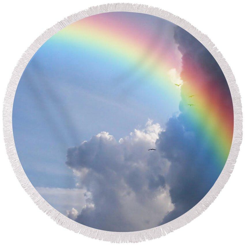 Rainbow Round Beach Towel featuring the photograph Rainbow Clouds by Antony McAulay