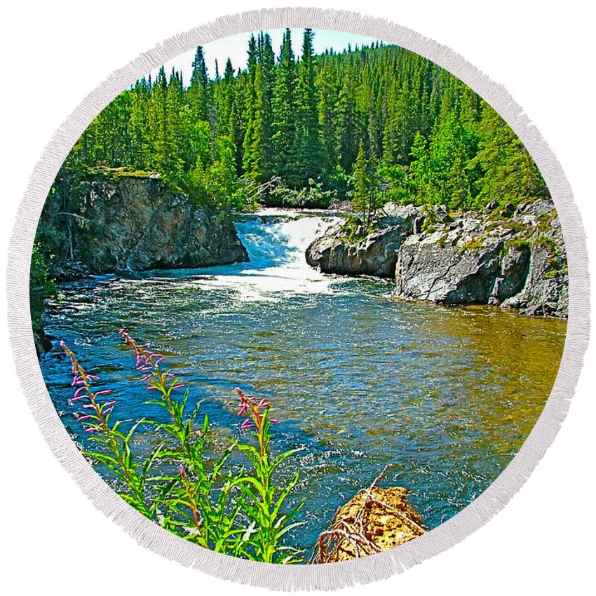 Rancheria Falls In Rancheria Falls Recreation Site Round Beach Towel featuring the photograph Rancheria Falls-yt by Ruth Hager