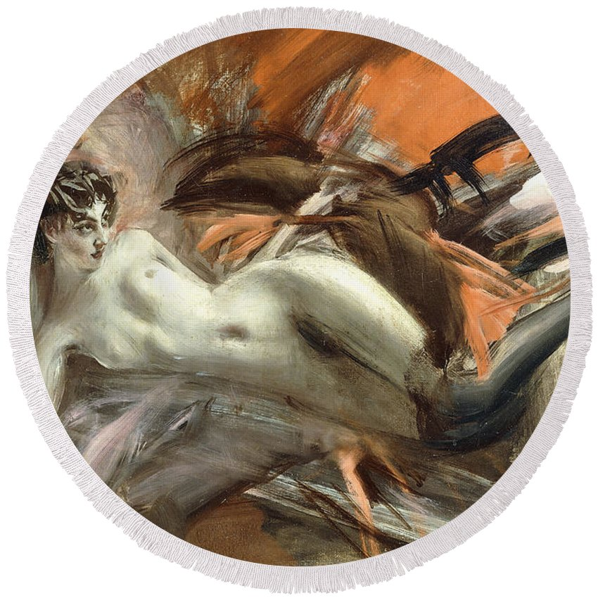 Nude Round Beach Towel featuring the painting Reclining Nude by Giovanni Boldini