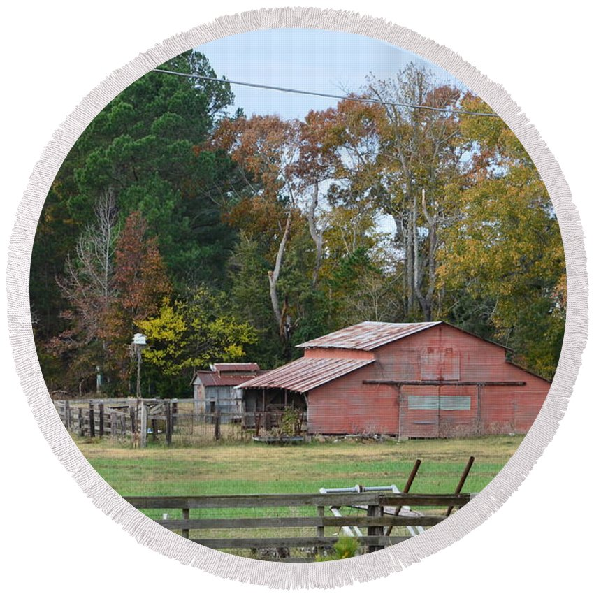 Red Round Beach Towel featuring the photograph Red Barn by Darrell Clakley