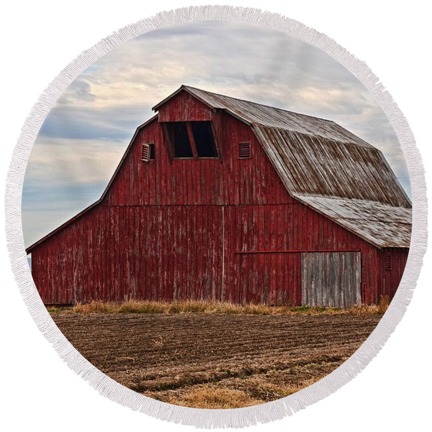 Arcitecture Round Beach Towel featuring the photograph Red Barn by Debbie Portwood