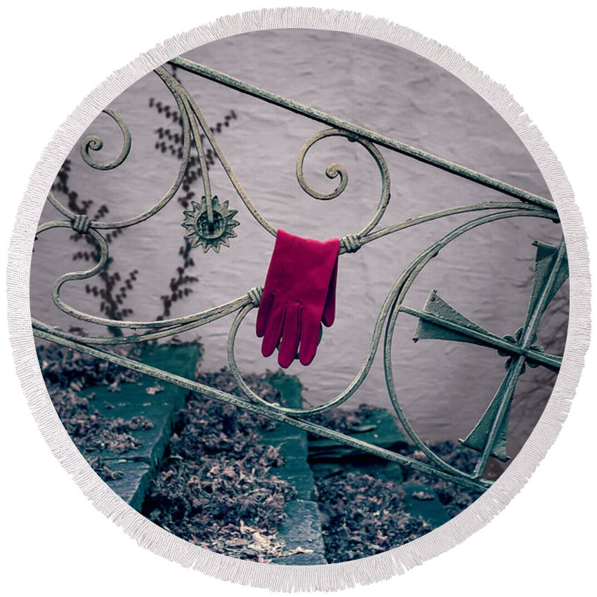 Glove Round Beach Towel featuring the photograph Red Glove by Joana Kruse