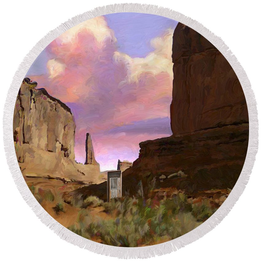 Arizona Round Beach Towel featuring the painting Red Rocks by Snake Jagger