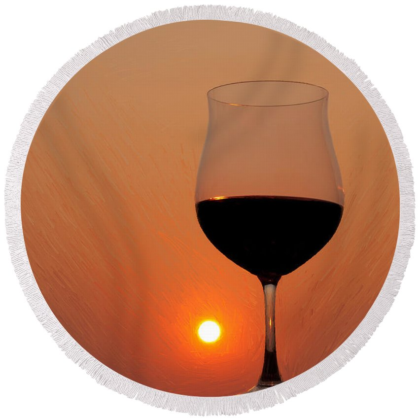 Painting Round Beach Towel featuring the photograph Red Wine At Sunset by Martin Belan