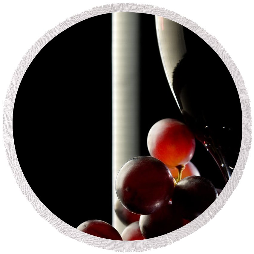 Reflection Round Beach Towel featuring the photograph Red Wine With Grapes by Johan Swanepoel