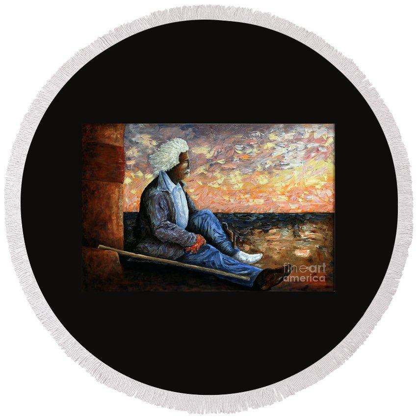 Portrait Round Beach Towel featuring the painting Reflections by Barney Napolske