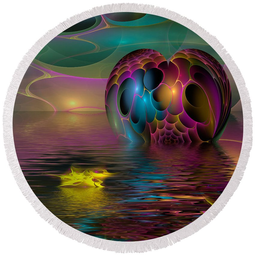 Phil Sadler Round Beach Towel featuring the digital art Reflections by Phil Sadler