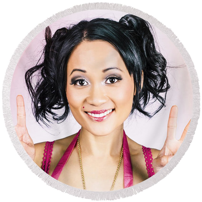 1960s Round Beach Towel featuring the photograph Retro Asian Girl Gesturing Peace Love And Hope by Jorgo Photography - Wall Art Gallery