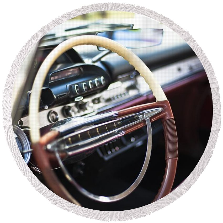 Dashboard Round Beach Towel featuring the photograph Retro Dashboard by FL collection