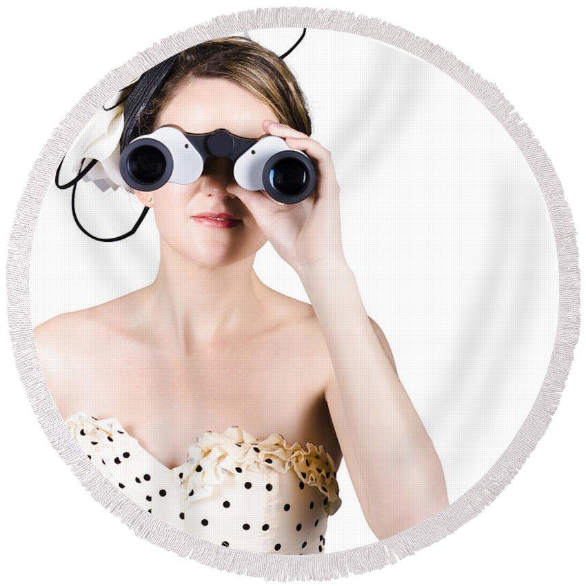 Binoculars Round Beach Towel featuring the photograph Retro Woman Looking Through Binoculars by Jorgo Photography - Wall Art Gallery