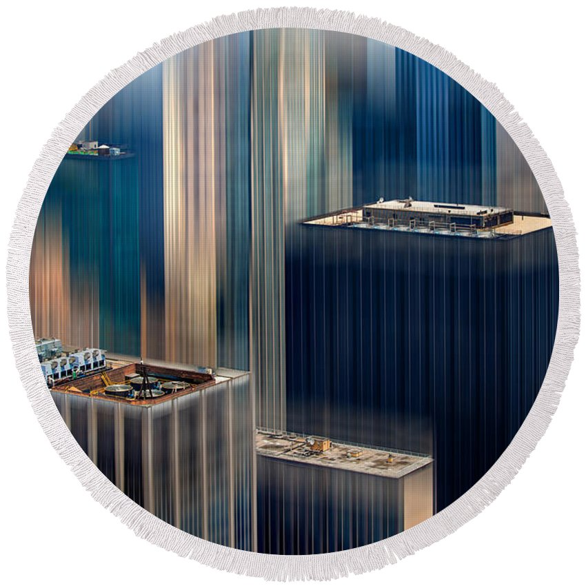 Architecture Round Beach Towel featuring the digital art Rising Metropolis by Az Jackson