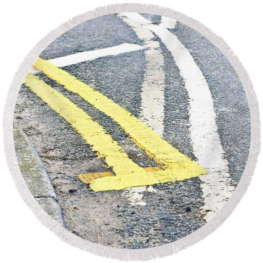 Angle Round Beach Towel featuring the photograph Road Markings by Tom Gowanlock