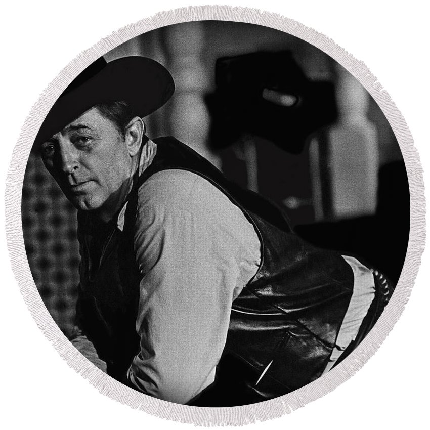 Robert Mitchum Young Billy Young Old Tucson Arizona 1968-2009 Round Beach Towel featuring the photograph Robert Mitchum Young Billy Young Old Tucson Arizona 1968-2009 by David Lee Guss