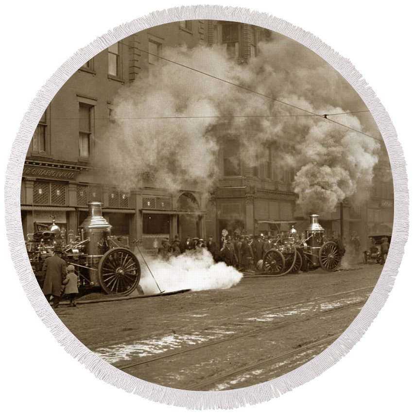 Rochester Round Beach Towel featuring the photograph Steam Pumper Rochester Show Case Co. Fire Circa 1890s by California Views Archives Mr Pat Hathaway Archives