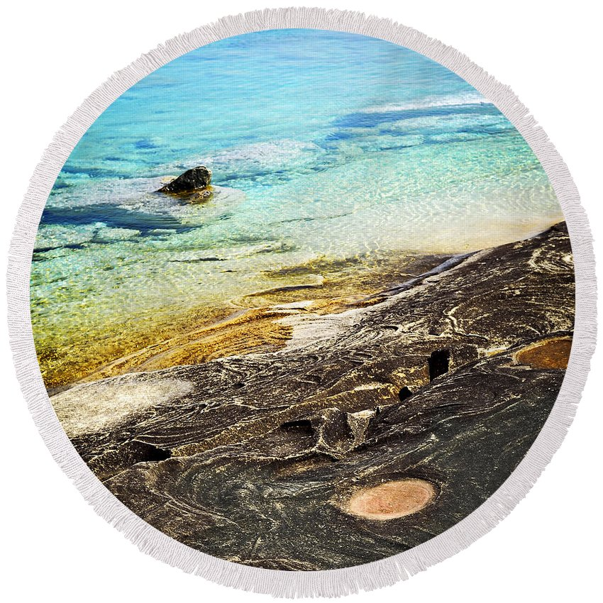 Water Round Beach Towel featuring the photograph Rocks And Clear Water Abstract by Elena Elisseeva
