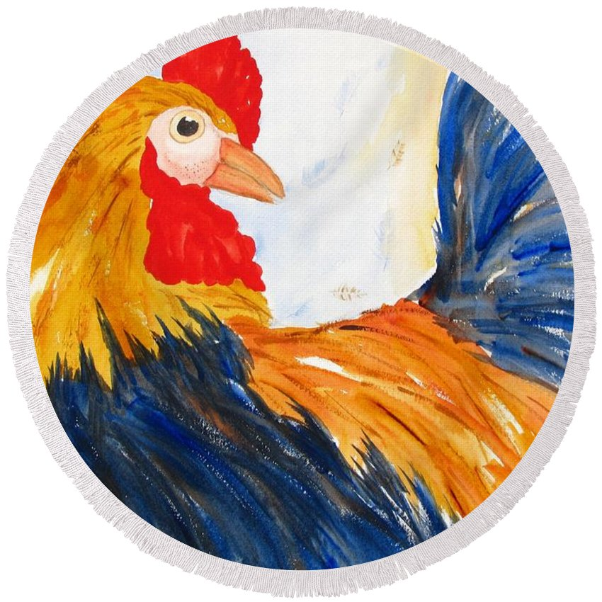 Rooster Round Beach Towel featuring the painting Rooster by Carlin Blahnik CarlinArtWatercolor