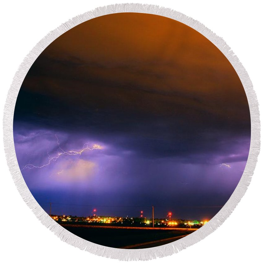Stormscape Round Beach Towel featuring the photograph Round 2 More Late Night Servere Nebraska Storms by NebraskaSC