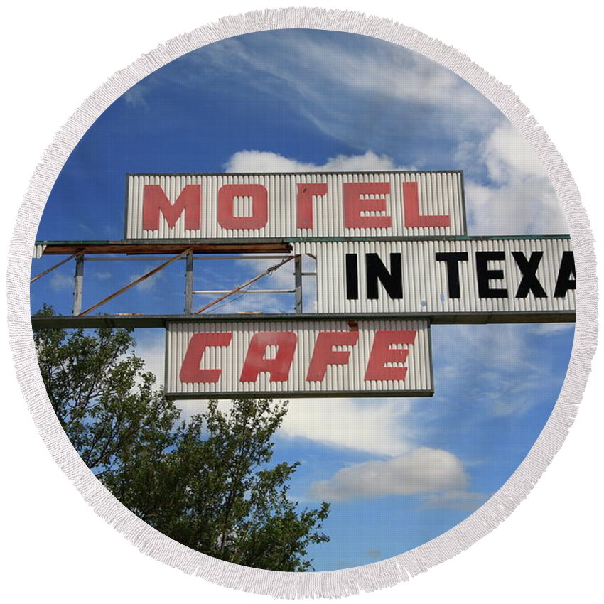 66 Round Beach Towel featuring the photograph Route 66 - Glenrio Texas by Frank Romeo