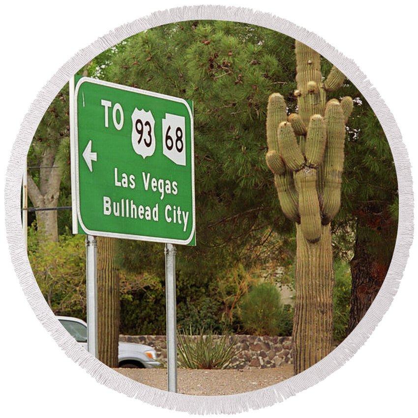 66 Round Beach Towel featuring the photograph Route 66 - Kingman Arizona by Frank Romeo