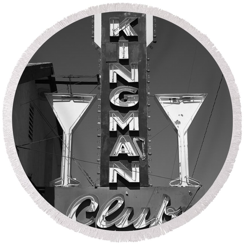 66 Round Beach Towel featuring the photograph Route 66 - Kingman Club 2012 Bw by Frank Romeo