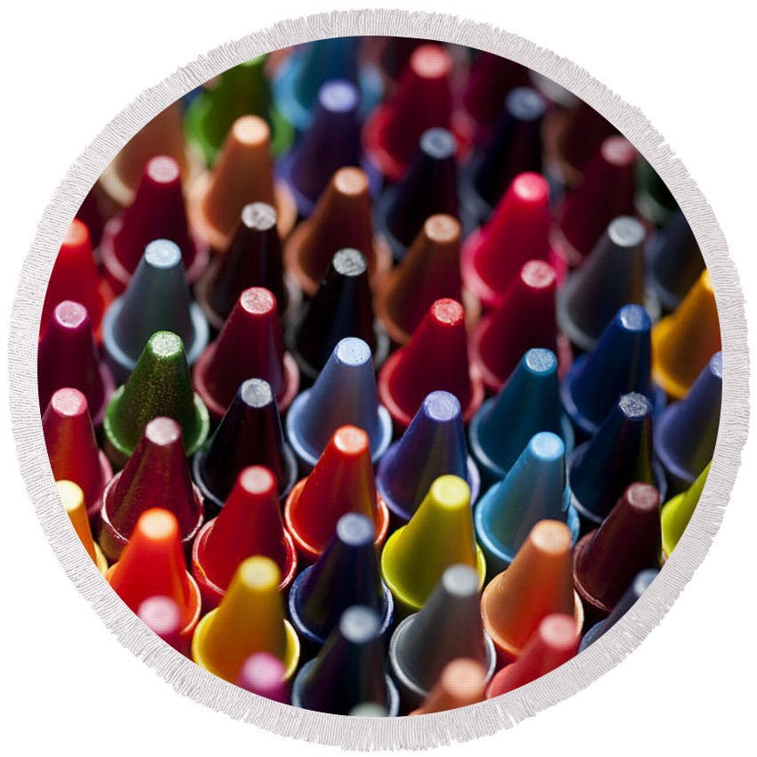Abstract Round Beach Towel featuring the photograph Rows Of Multicolored Crayons by Jim Corwin