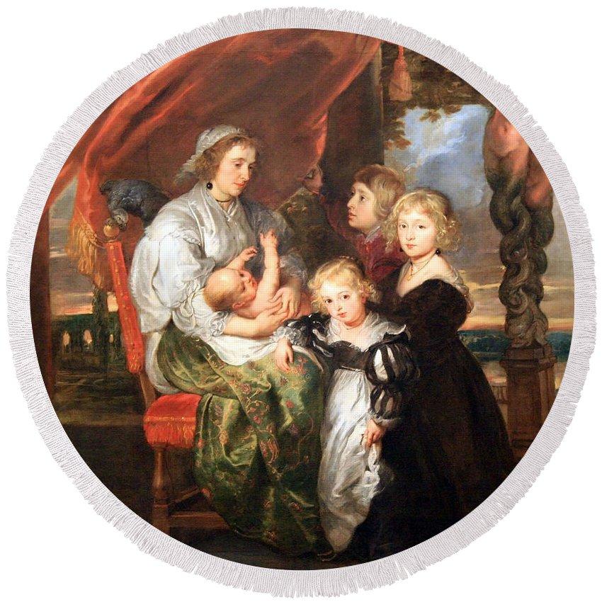 Deborah Round Beach Towel featuring the photograph Rubens' Deborah Kip -- Wife Of Sir Balthasar Gerbier -- And Her Children by Cora Wandel