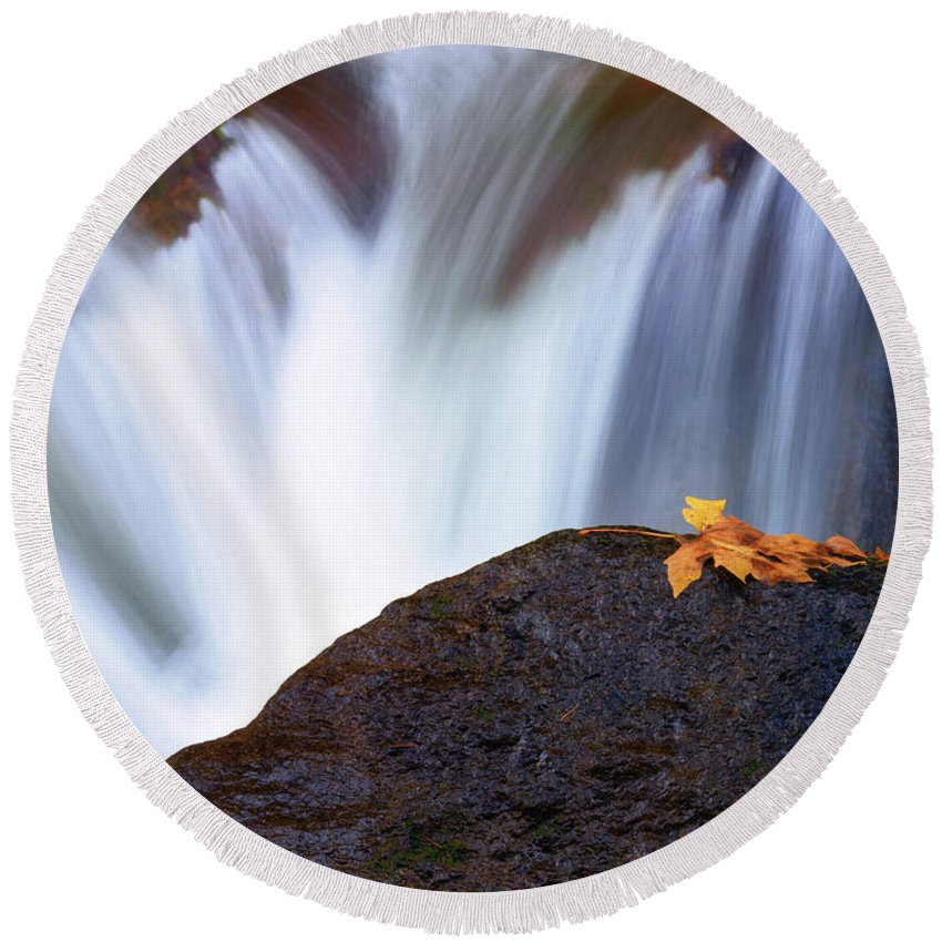 Autumn Round Beach Towel featuring the photograph Rush by Mike Dawson