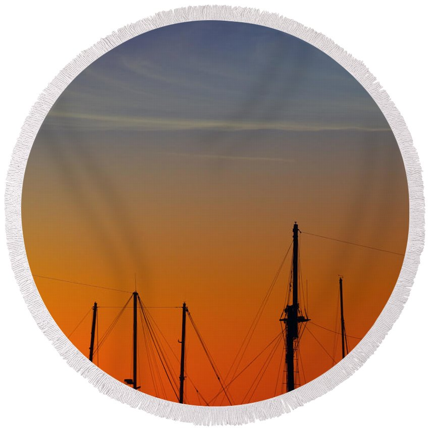 Sea Round Beach Towel featuring the photograph Sailing Boats by Stelios Kleanthous