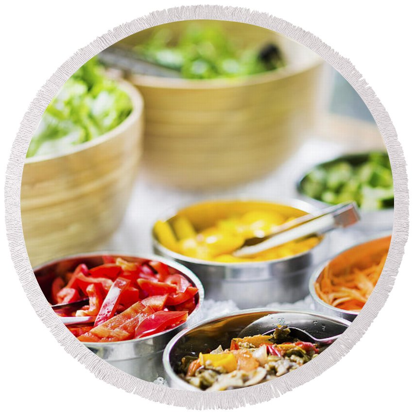 Bowl Round Beach Towel featuring the photograph Salad Bowls With Mixed Fresh Vegetables by Jacek Malipan
