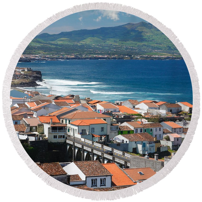 Azores Round Beach Towel featuring the photograph Sao Miguel Island by Gaspar Avila