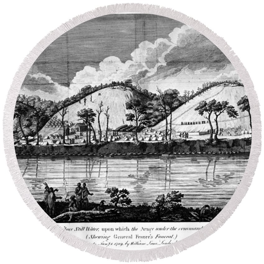 1777 Round Beach Towel featuring the photograph Saratoga: Encampment, 1777 by Granger