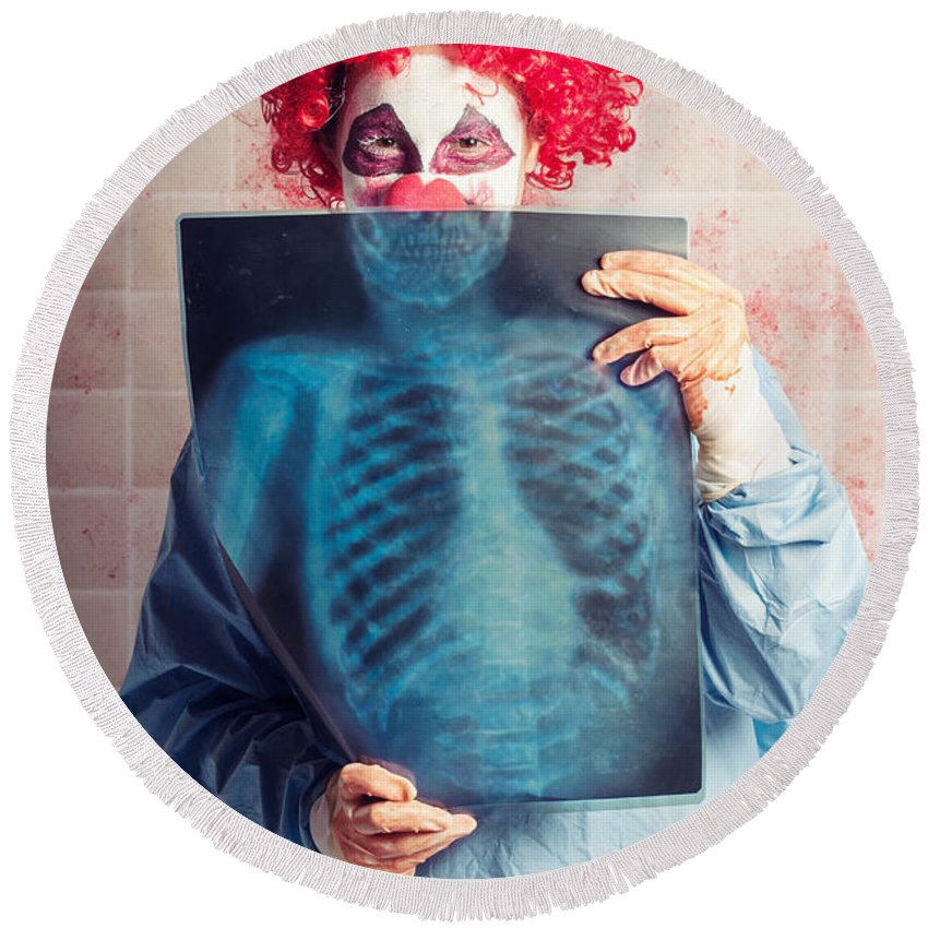Clown Round Beach Towel featuring the photograph Scary Clown Peeking Behind X-ray. Funny Bones by Jorgo Photography - Wall Art Gallery