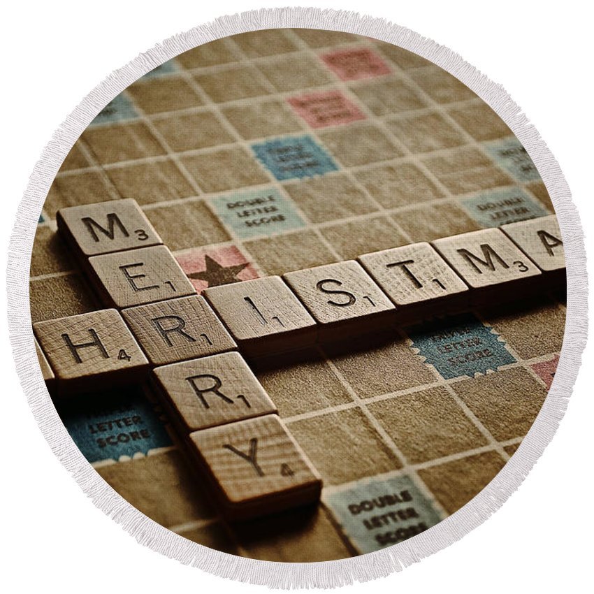 Merry Christmas Round Beach Towel featuring the photograph Scrabble Merry Christmas by Bill Owen