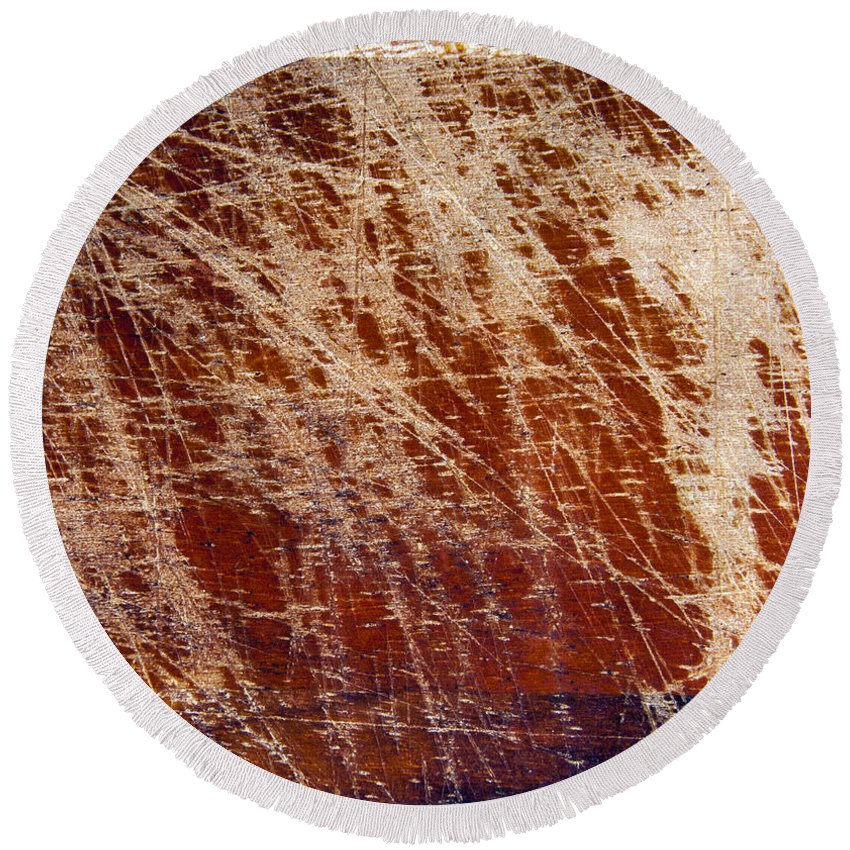 Backdrop Round Beach Towel featuring the photograph Scratched Wood Texture by Tim Hester