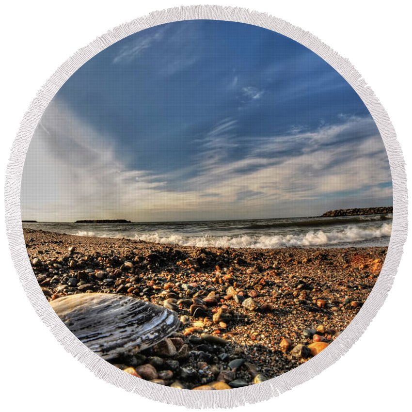 Round Beach Towel featuring the photograph Sea Shell Sea Shell By The Sea Shore At Presque Isle State Park Series by Michael Frank Jr