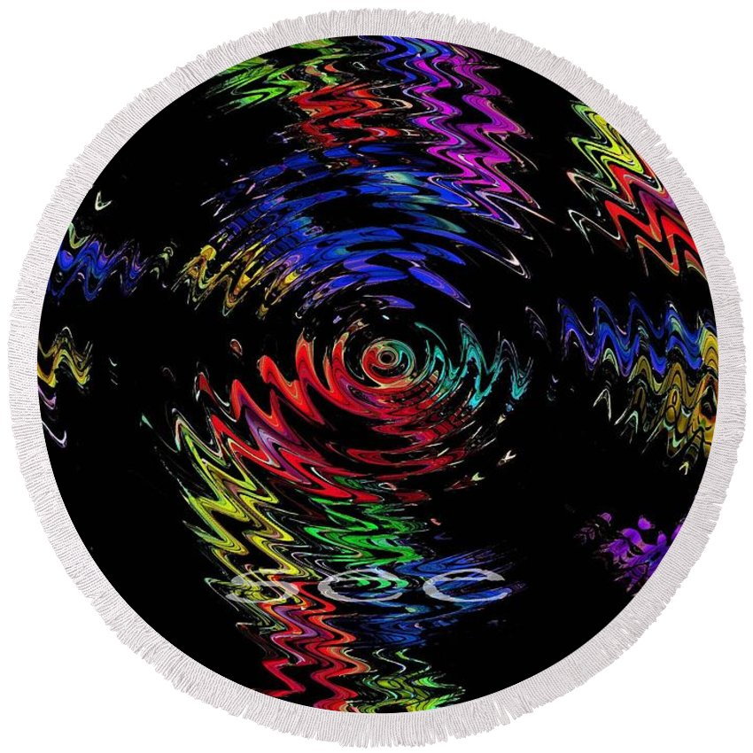 Abstract Round Beach Towel featuring the digital art See by Lizi Beard-Ward