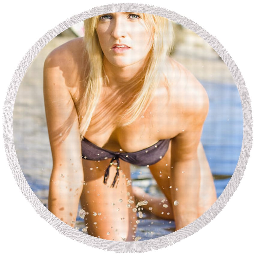 Adults Only Round Beach Towel featuring the photograph Sensuous Woman Playing With Water by Jorgo Photography - Wall Art Gallery