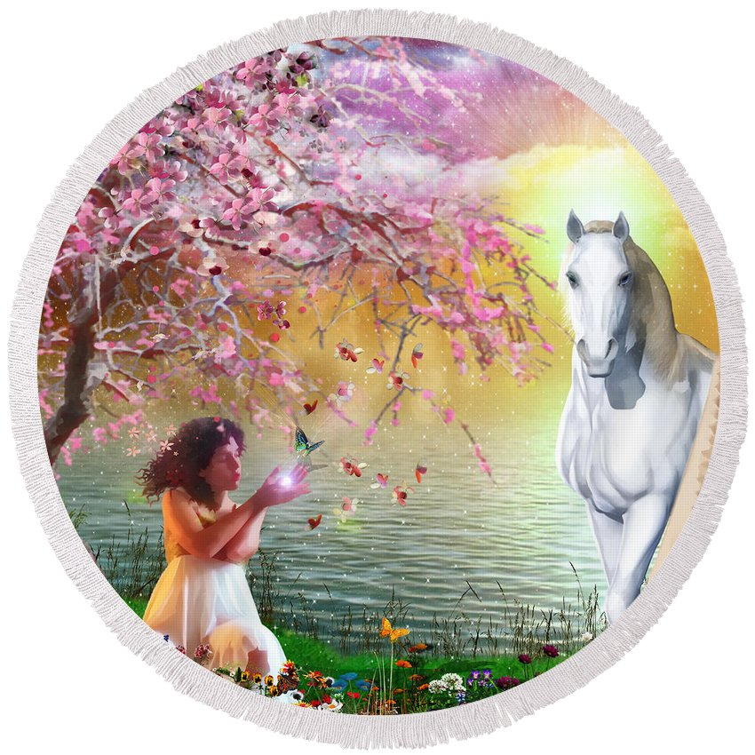 Butterfly White Horse Cherry Blossom Round Beach Towel featuring the digital art Set Free by Dolores Develde