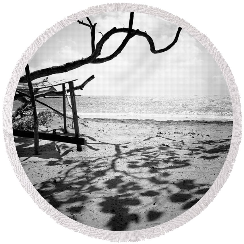 Saint Lucia Round Beach Towel featuring the photograph Shadow Tree by Ferry Zievinger