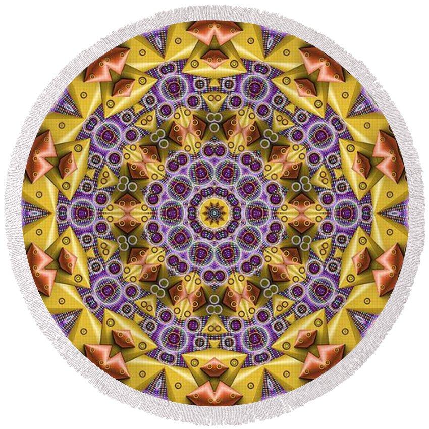 Kaleidosope Round Beach Towel featuring the digital art Kaleidoscope 43 by Ron Bissett