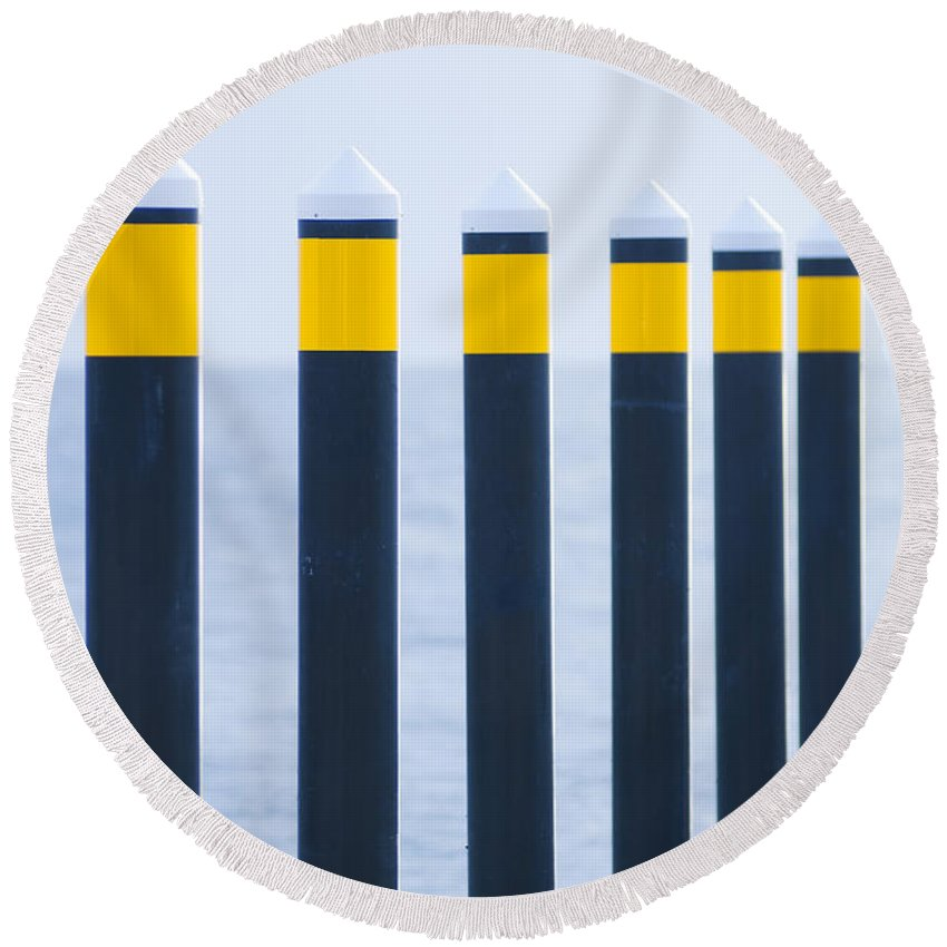 Nautical Round Beach Towel featuring the photograph Ship Guides by Tim Hester
