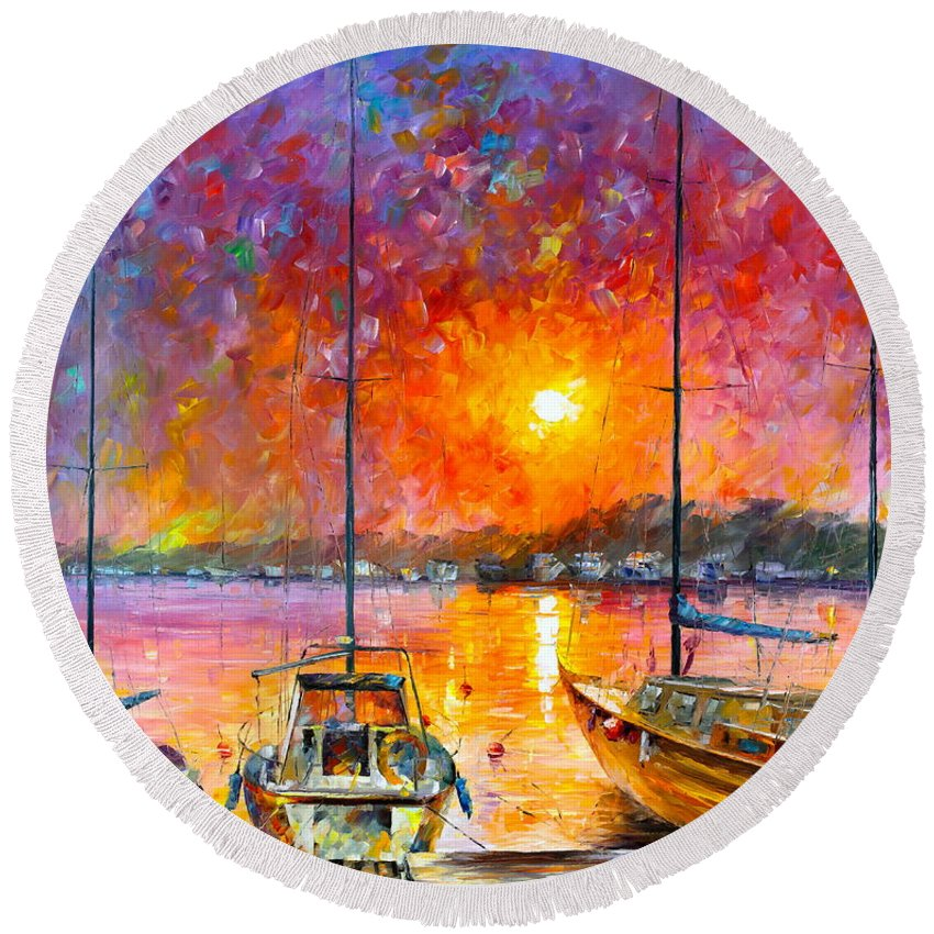 Afremov Round Beach Towel featuring the painting Ships Of Freedom by Leonid Afremov
