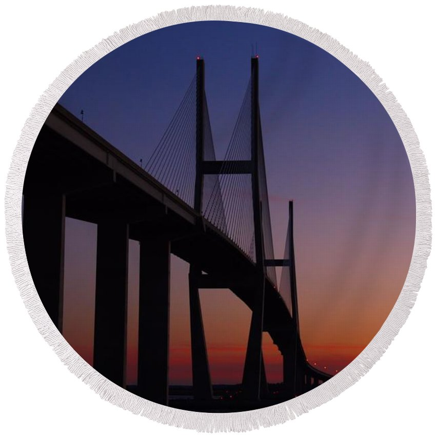 Bridge Round Beach Towel featuring the photograph Sidney Lanier Bridge At Sunset by Kathryn Meyer