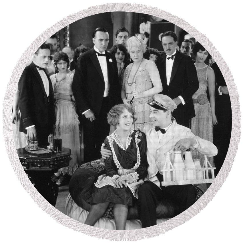 1920s Round Beach Towel featuring the photograph Silent Film Still: Milkman by Granger