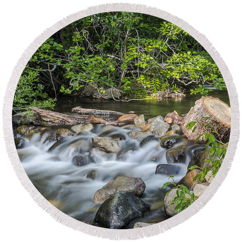 Landscape Round Beach Towel featuring the photograph Silky Water by Maria Coulson