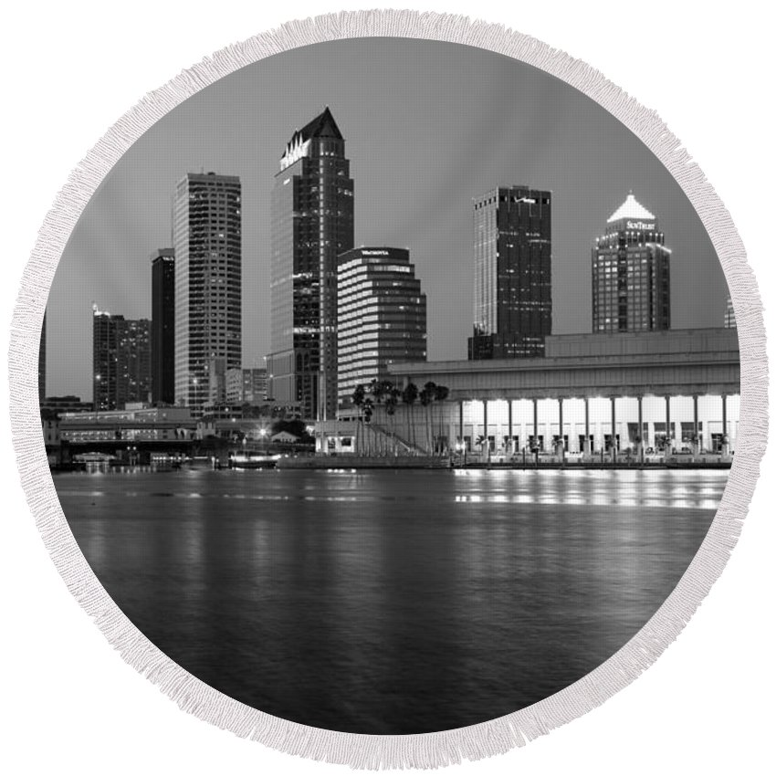 Black And White Round Beach Towel featuring the photograph Skyline Of Tampa Along Waterfront by Bill Cobb