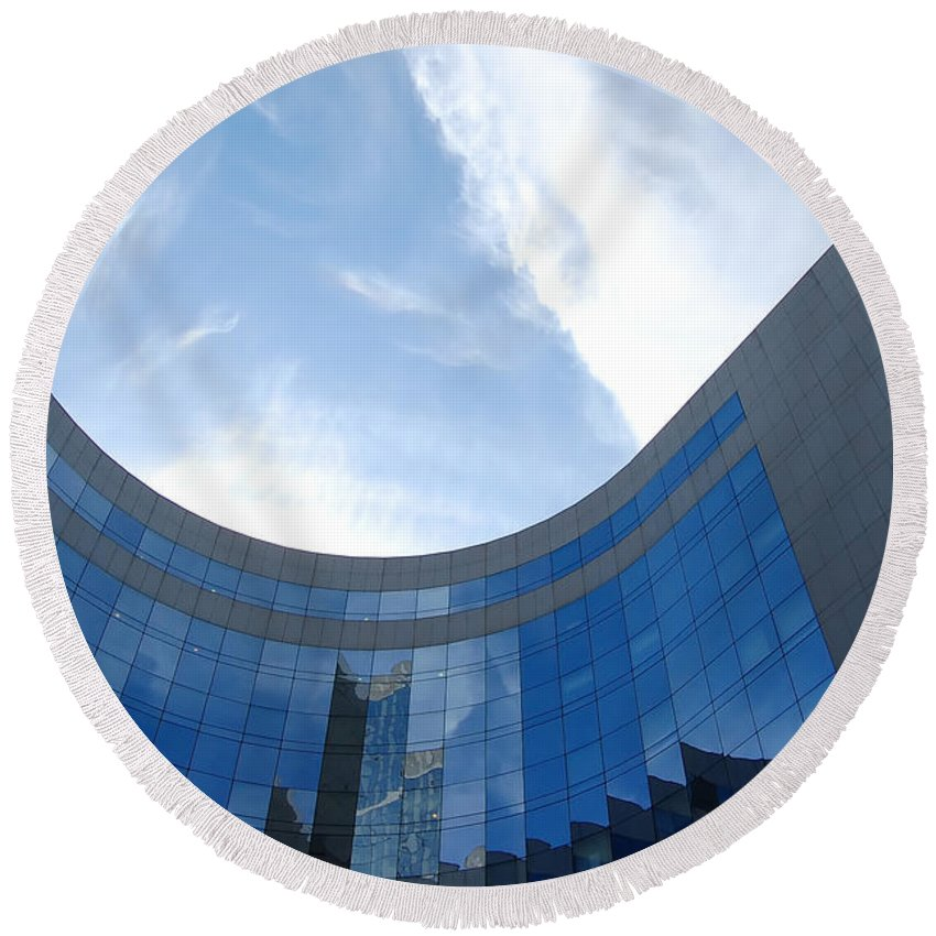 Architectural Round Beach Towel featuring the photograph Skyscraper by Michal Bednarek